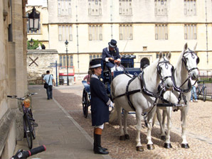 Wedding carriage, alongside Brasenose College, in Radcliffe Square, with The Bodleian Library behind