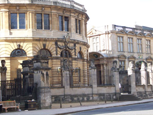 The Sheldonian Theatre, designed by Christopher Wren, with the Emperors' Heads in front